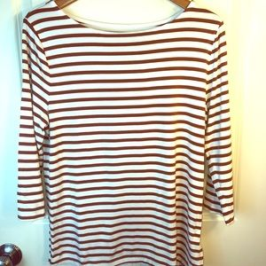 NWOT Stripe 3/4 Sleeve Boat Neck Top sz XL